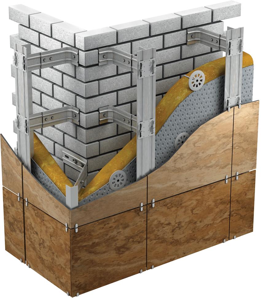 Схема наружной отделки стены фасадными панелями с утеплителем и пароизоляцией