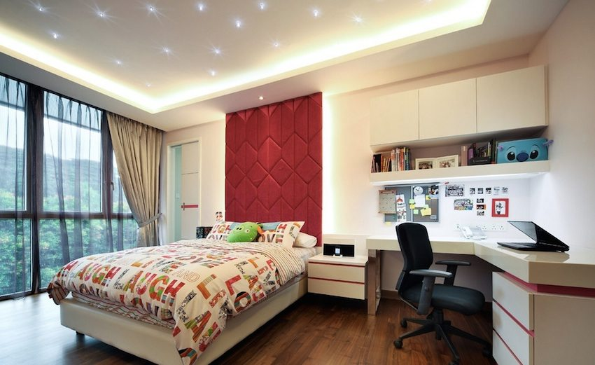 Комбинация точечного и рассеянного света в спальне