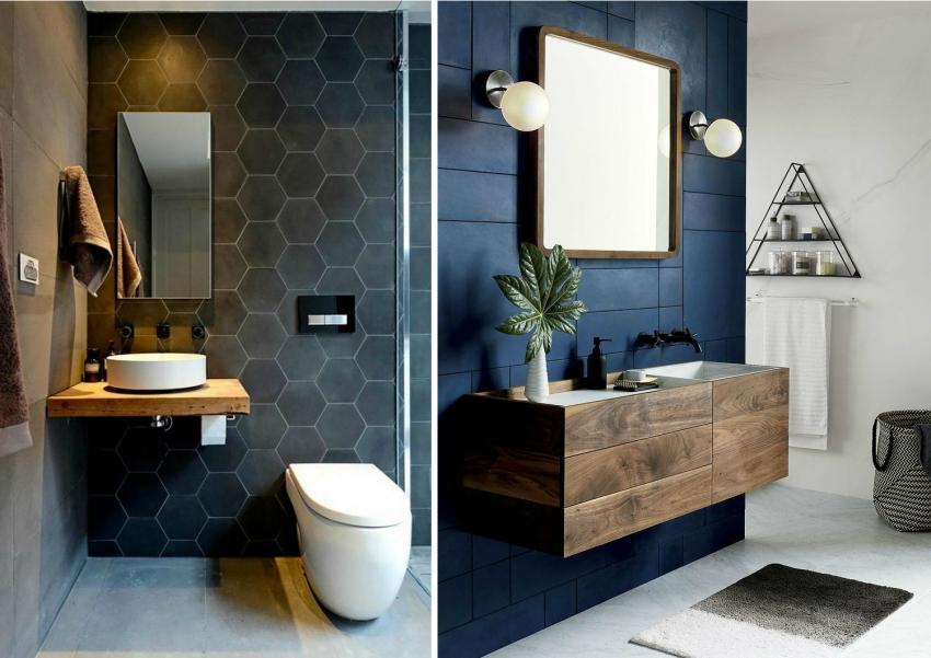Плитка насыщенного темного оттенка часто используется для оформления ванной современными дизайнерами