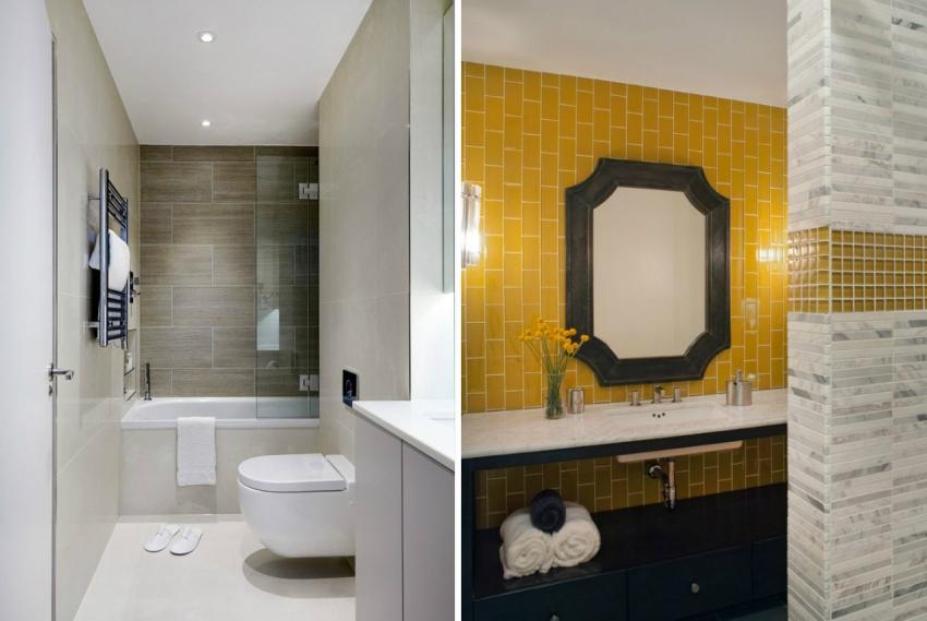 Белая ванна эффектно выделяется на фоне ярко-красной мозаики