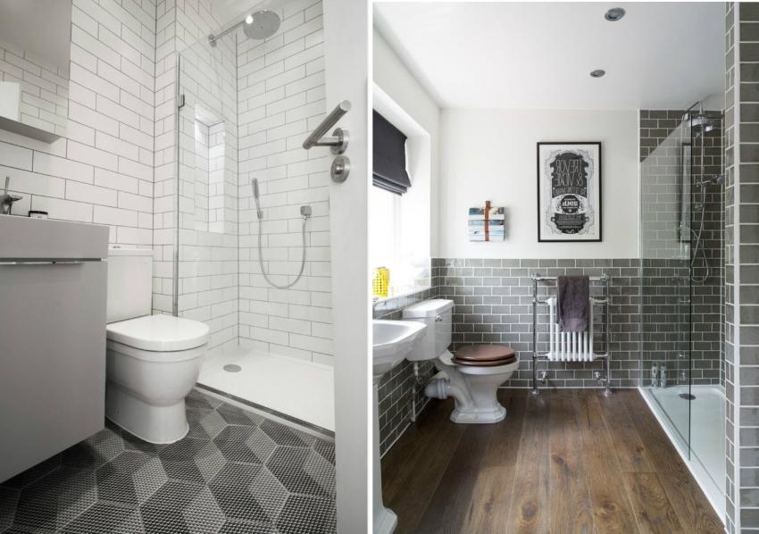 Эклектика в современной ванной - часть стены выложена плиткой с имитацией потертости