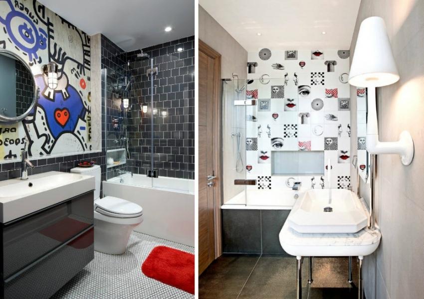 3D-проект ванной комнаты, выполненной в бело-голубых тонах