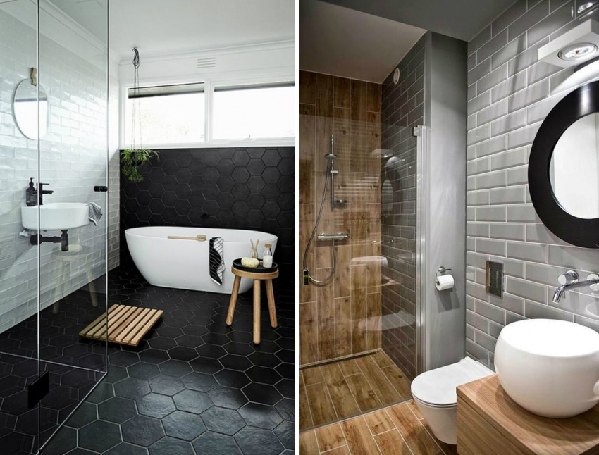 Пример дизайн-проекта ванной комнаты с рисунком укладки керамической плитки