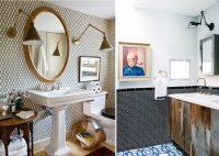 Плитка с мелким рисунком или в форме мозаики выгодно сочетается с золотой фурнитурой и бронзовыми элементами декора