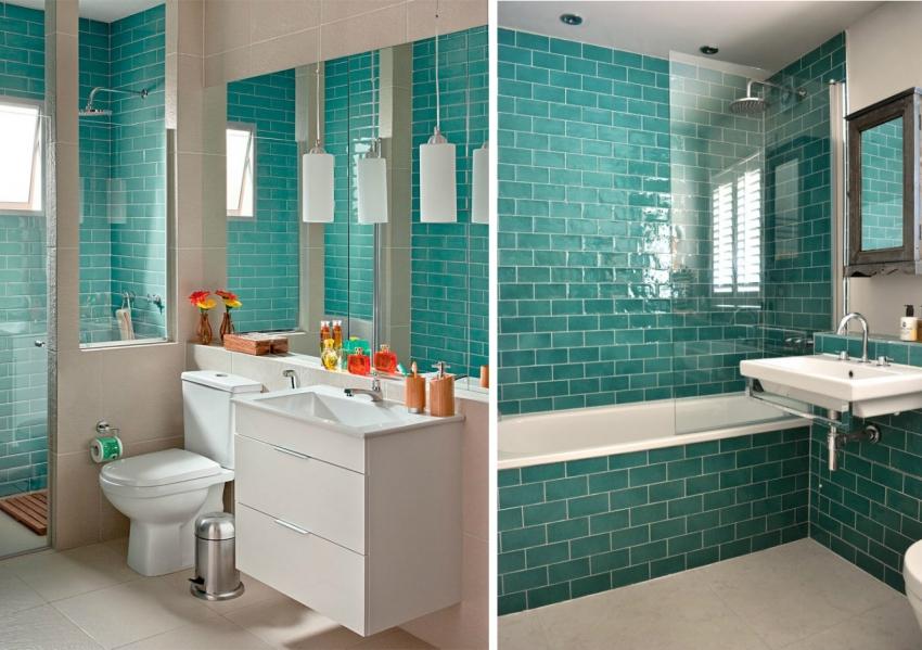 Использование плитки с глянцевым отблеском помогает визуально расширить небольшое пространство ванной комнаты