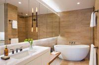 Одним из современных способов оформления ванной является использование плитки с имитацией натуральных материалов