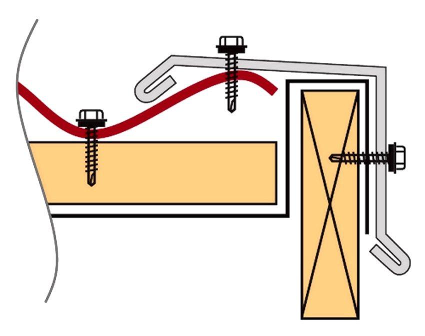 Схема фиксации планки саморезами