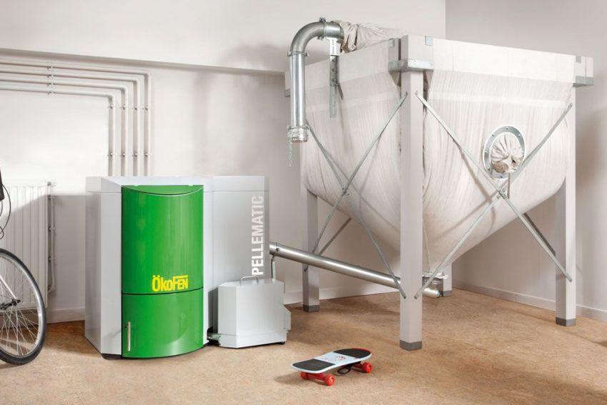 Для использования в качестве топлива только пеллет - необходимо оборудовать просторное помещение с резервуаром для гранул