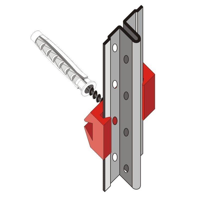 Пример крепления строительного маяка к стене