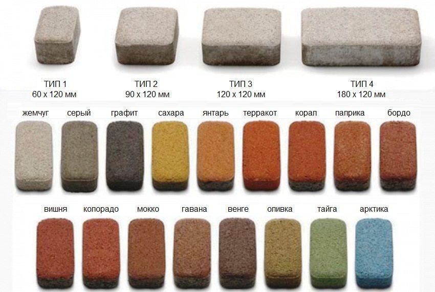 Распространенные размеры и оттенки тротуарной плитки