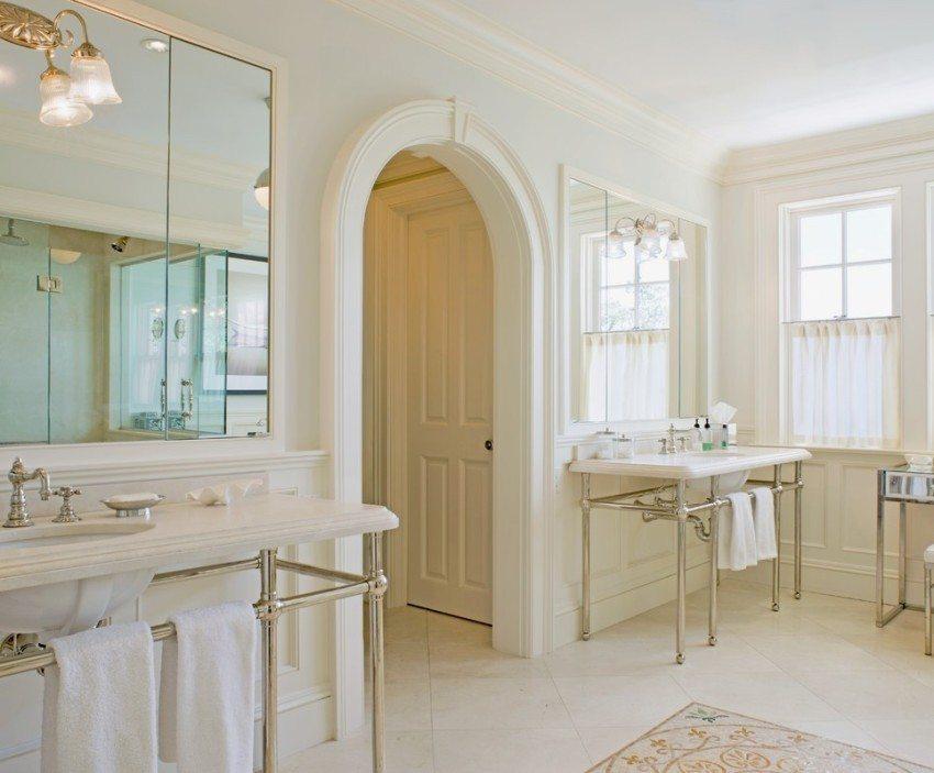 В ванной для оформления арочного проема используется влагостойкий гипсокартон