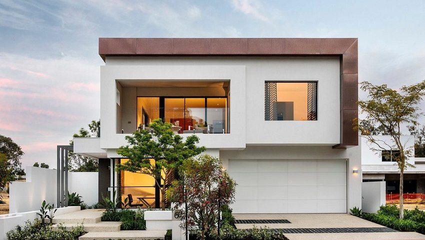 В отделке фасада современного модульного дома использованы контрастные цвета