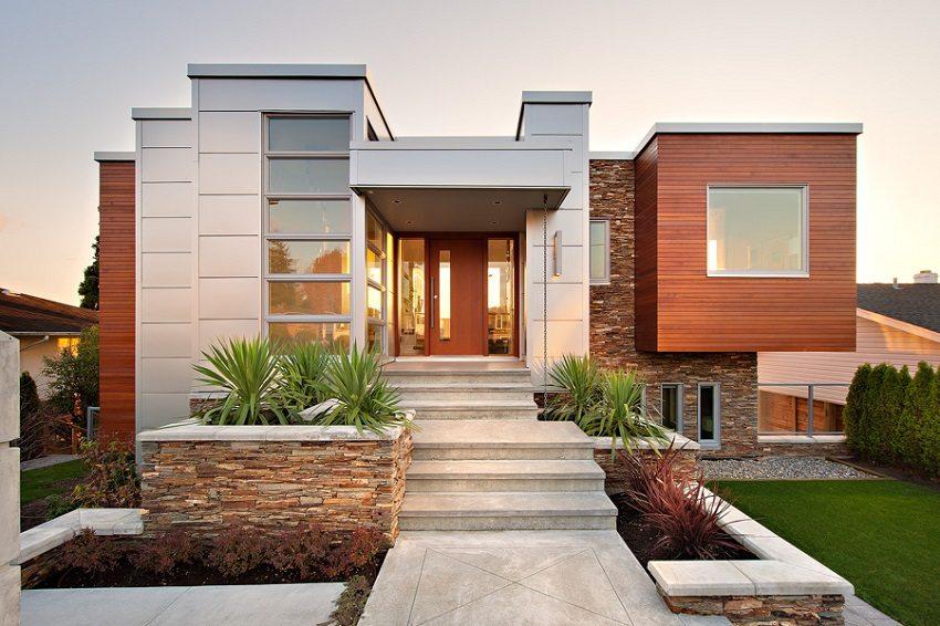 Стильное сочетание разных отделочных материалов в отделке современного дома