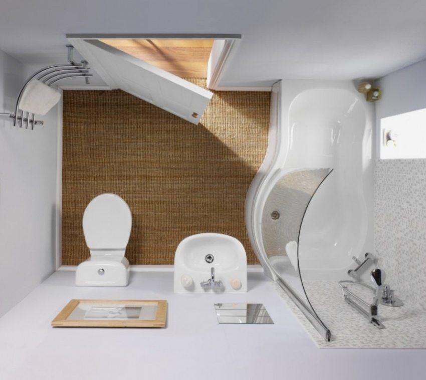Пример расположения сантехники в маленькой ванной