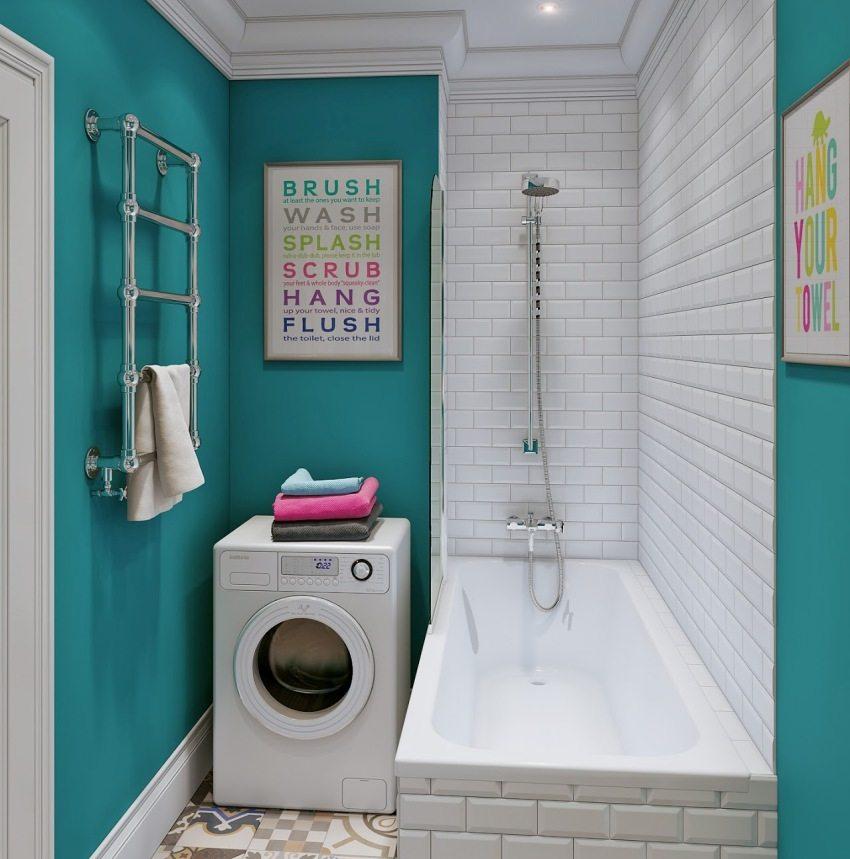 Для маленьких ванных лучше приобретать компактные модели стиральных машин