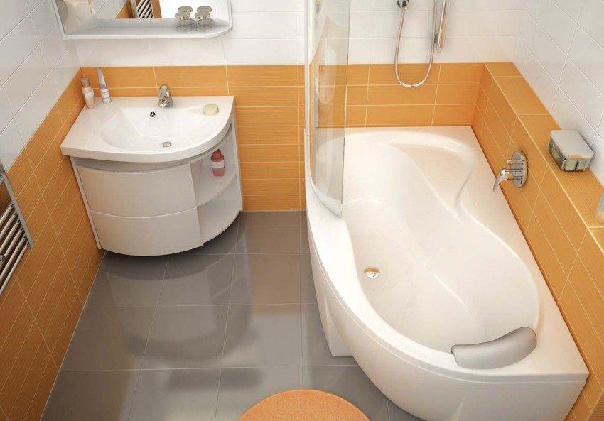 Многие производители предлагают сантехнику компактных размеров, которая прекрасно подходит для оформления дизайна ванной комнаты маленького размера