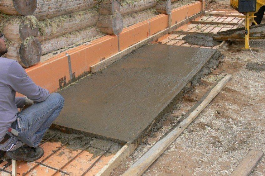 Заливка отмостки цементным раствором