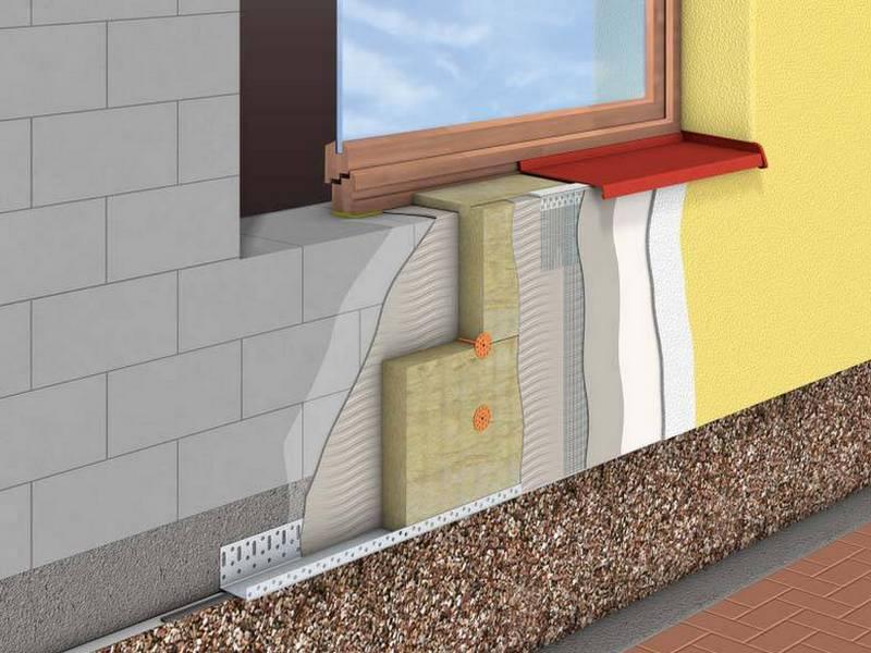 Схема утепления наружной стены с использованием пенополистирольных плит