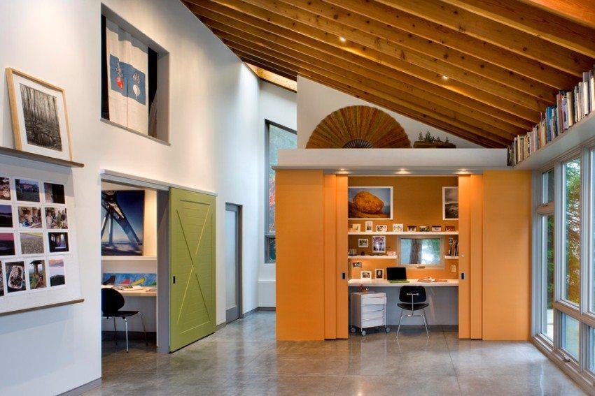 Совмещение различных конструкций раздвижных дверей в одном интерьере