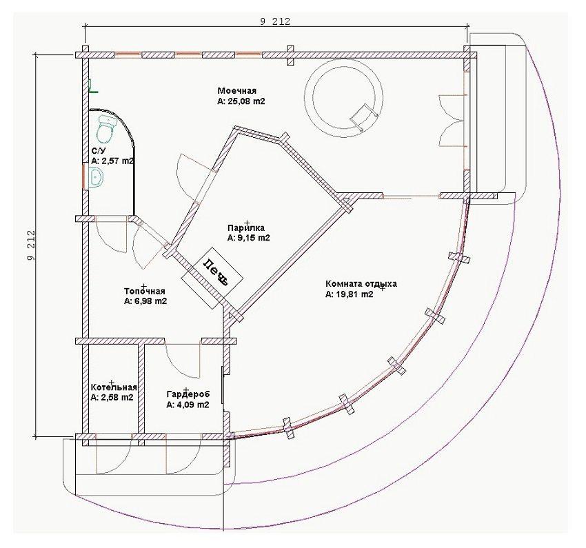 Интересный проект бани из пеноблоков с полукруглым фасадом