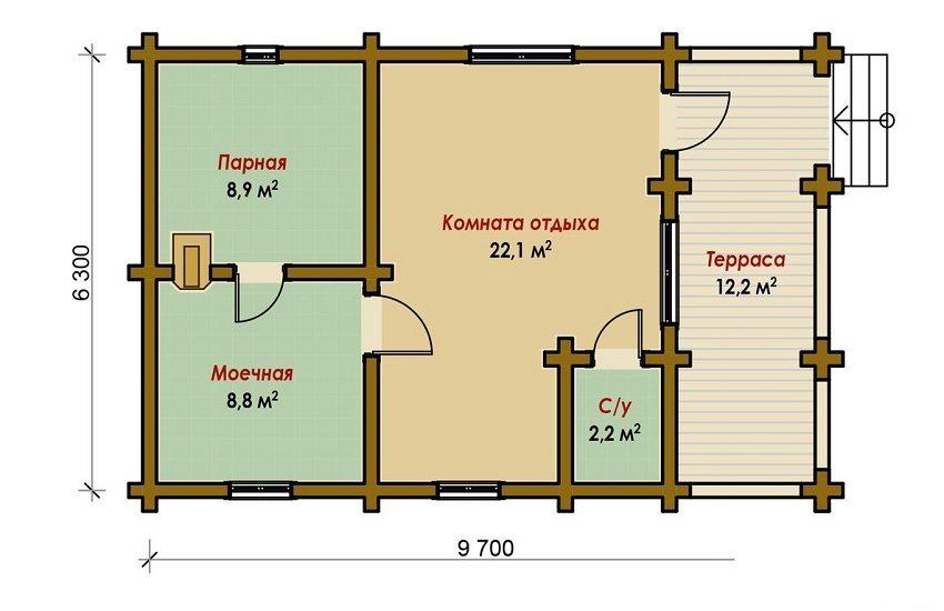 Проект бани 9,7 х 6,3 м с комнатой отдыха и террасой
