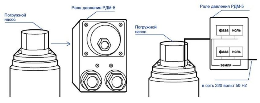 Схема подключения реле давления к погружному насосу