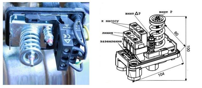 Регулировка реле давления насосной станции осуществляется с помощью большой и малой пружины