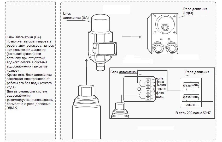 Подключение блока автоматики и реле давления к погружному насосу