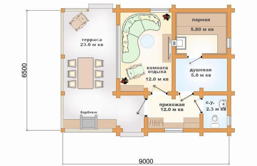 План бани с комнатой отдыха, террасой и барбекю