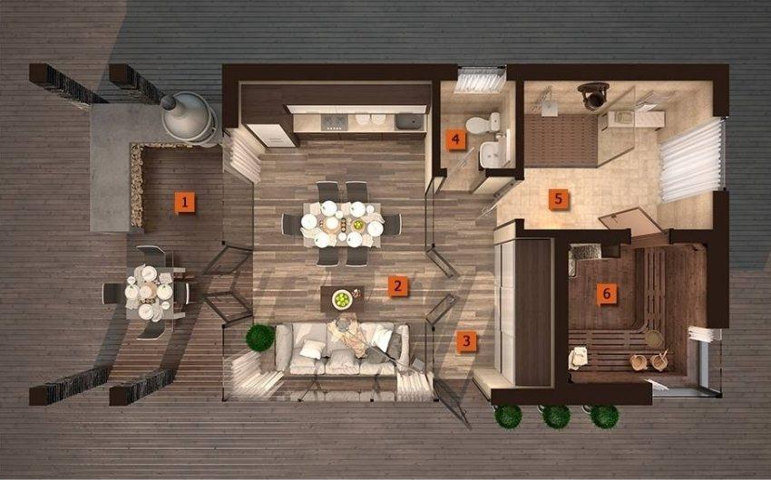 1 - терраса с барбекю, 2 - комната отдыха, 3 - коридор, 4 - санузел, 5 - душевая, 6 - парная