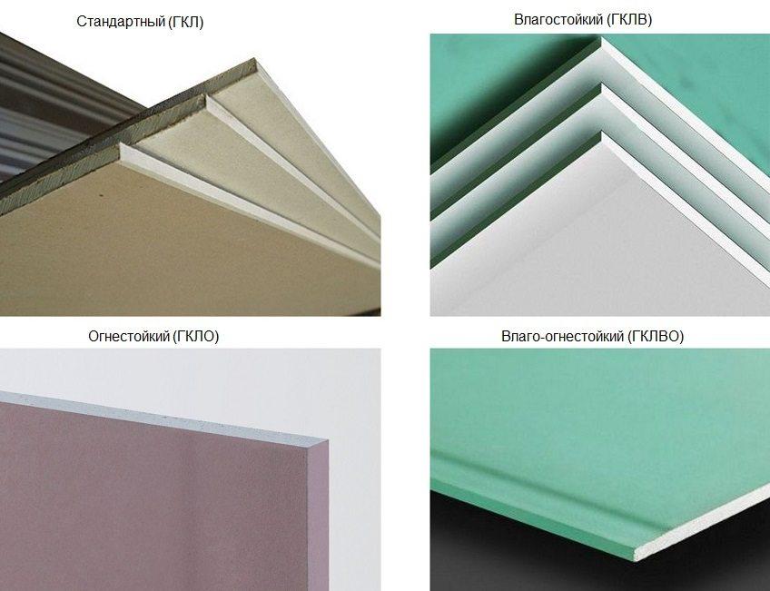 Листы гипсокартона окрашены в разные цвета, в зависимости от их свойств