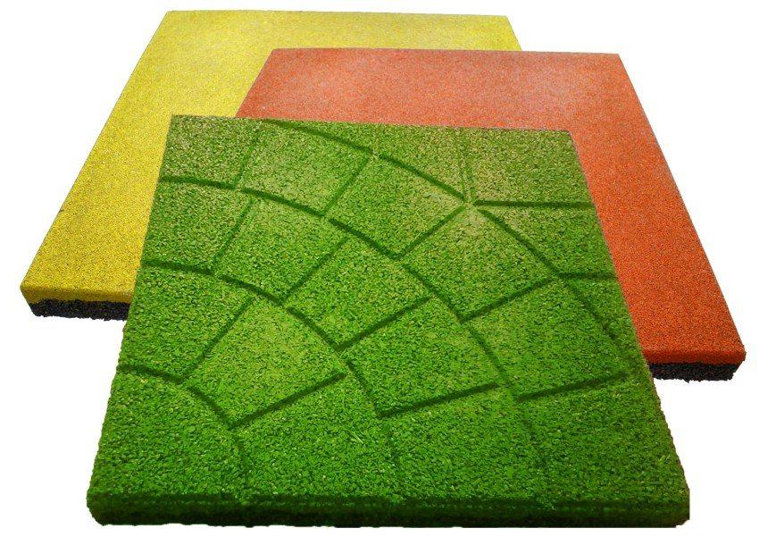 Фактура и расцветки резиновой плитки