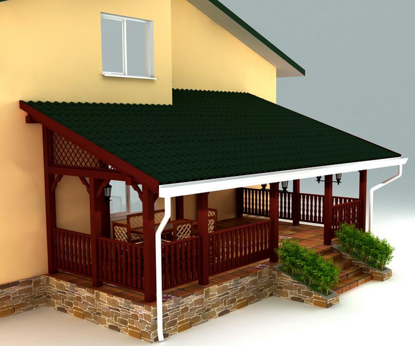 Проект открытой деревянной веранды пристроенной к дому