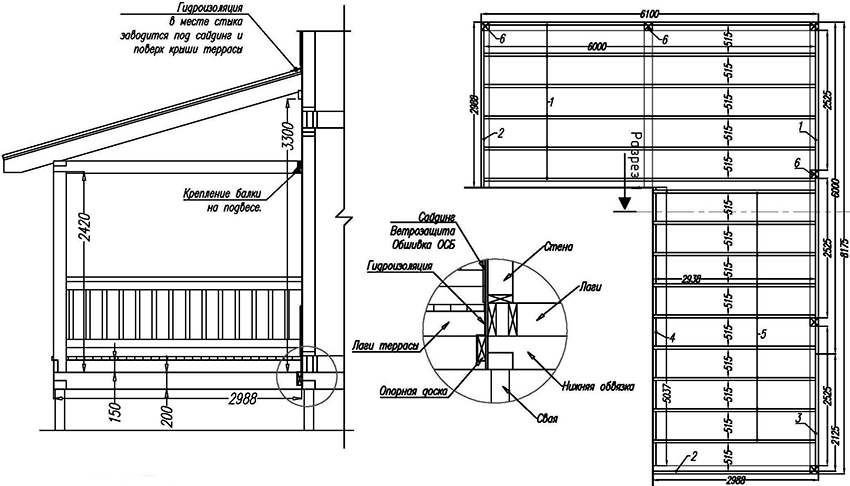 Проект веранды Г-образного типа пристроенной к дому