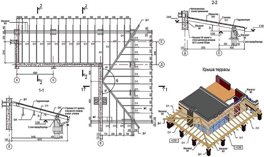 Проект террасы с Г-образной конструкцией из дерева