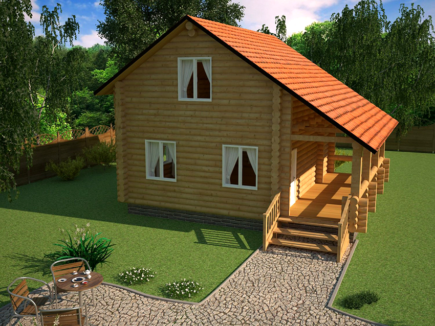 Проект дома с небольшой террасой под общей крышей