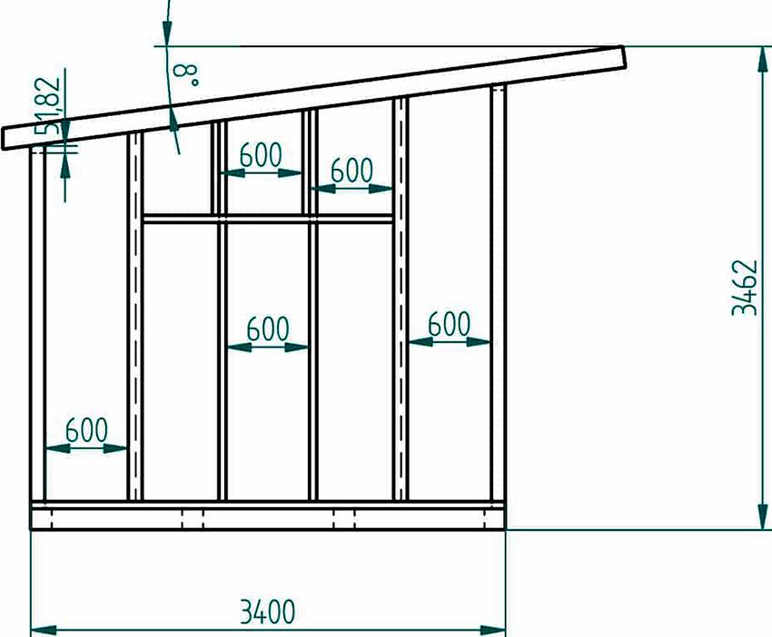 Чертеж небольшой пристроенной террасы из поликарбоната