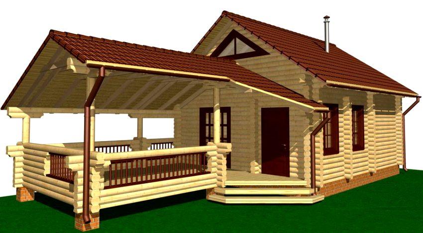 Проект просторной террасы к дому из деревянного сруба