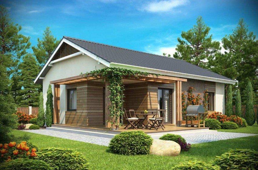 Трехмерный проект открытой летней площадки, примыкающей к дому