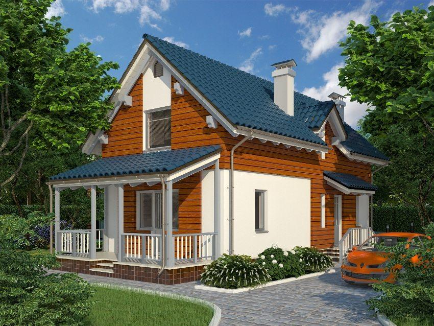 3D-проект современного частного дома с террасой