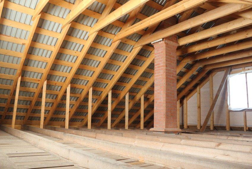 Стропильная система двускатной крыши - вид изнутри