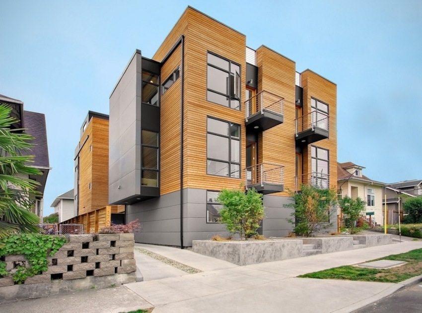 Современный фасад двухэтажного частного дома