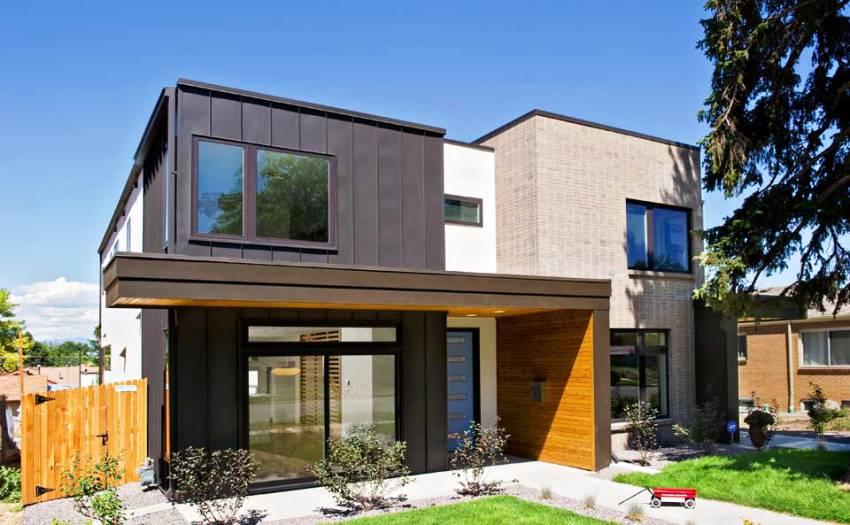 Для оформления современного здания могут использоваться комбинации различных облицовочных материалов