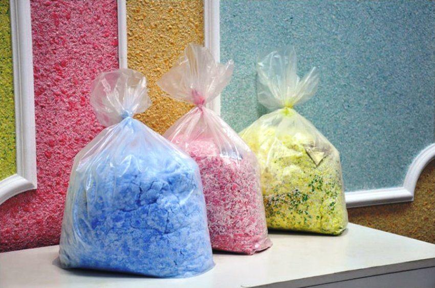 Цветная смесь для приготовления жидких обоев