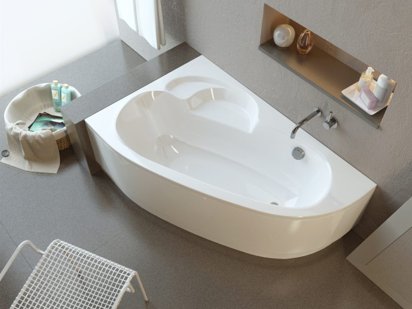 Угловая асимметричная ванна из акрила
