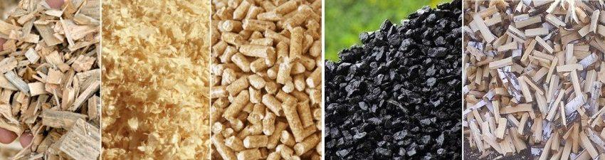 Различные варианты сырья для использования в твердотопливных котлах