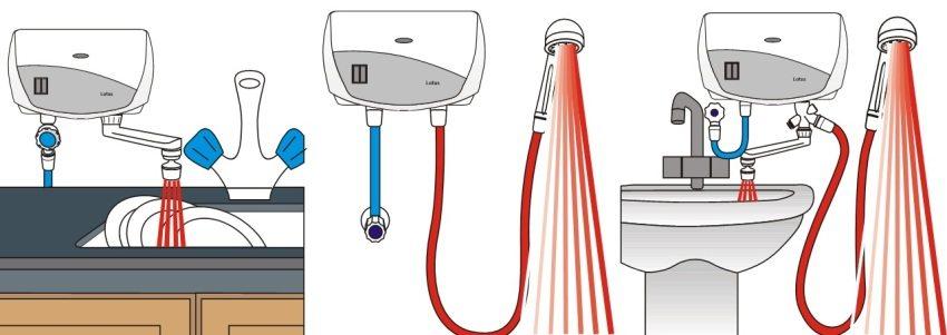 Различные варианты подключения и использования проточного водонагревателя