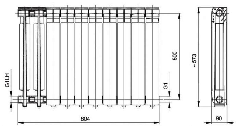 Монтажные размеры отопительного радиатора из алюминия