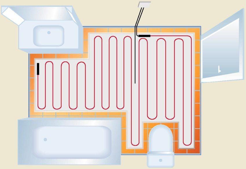 Пример укладки нагревательного кабеля под плитку в ванной комнате