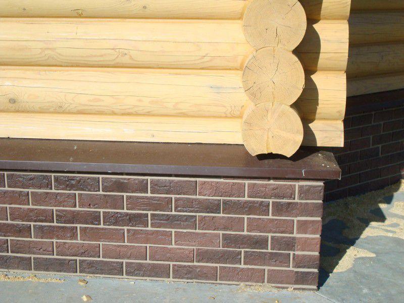 Металлический отлив для цоколя фундамента деревянного дома